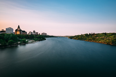 Sun Setting Over South Saskatchewan River