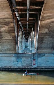 Rower + Geese + Bridge