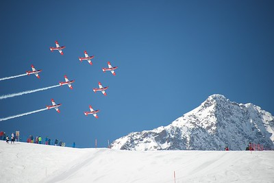 SAF PC-7 TEAM display at 2015/2016 SKI WORLD CUP FINALS in St. Moritz
