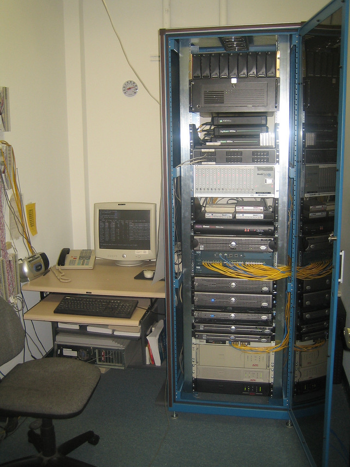 The server room:  in here sits many varieties of networking components and a lot of flashing lights.  Really what holds the company together sits entirely in that box.