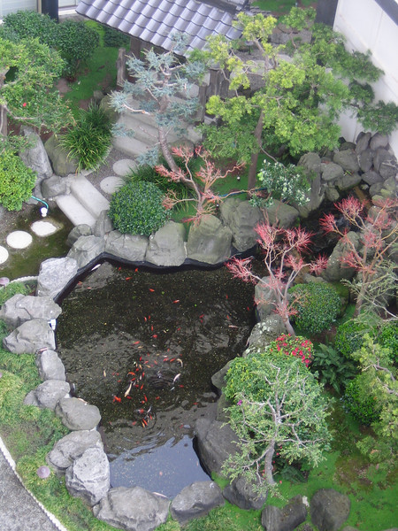 The room at Hotel Kabuki and looking down onto the gardens