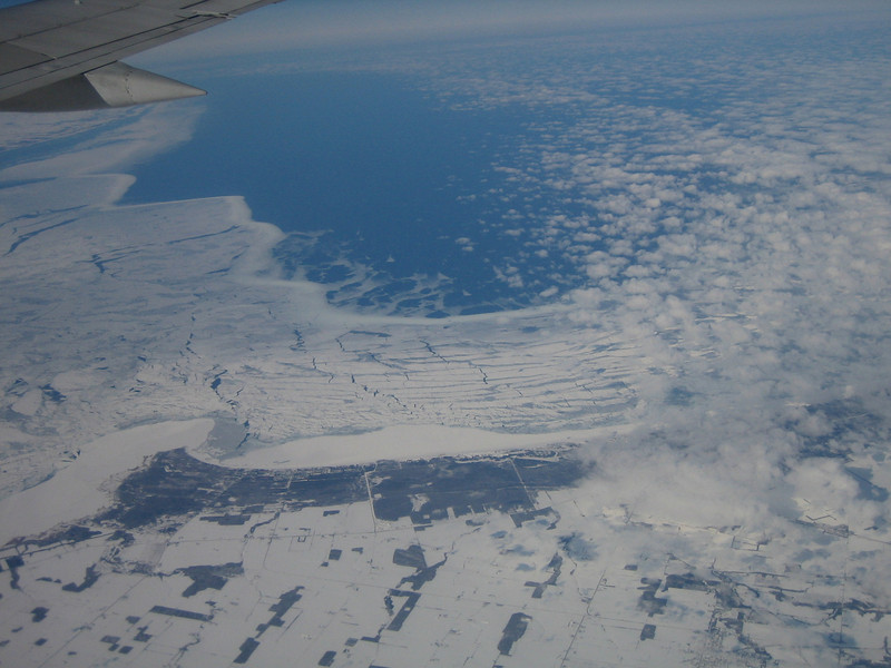 Flying from Amherst (Hartford, CT) to Chicago, IL<br /> <br /> The Thumb of Michigan and ice on Lake Huron