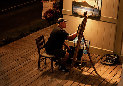 He usually paints for a couple hours a few days out of the week, and is able to get work done and also advertise his art by showcasing his craft to the public.