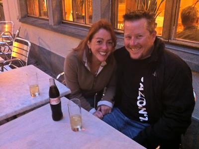 Me and my love relaxing in a Zurich square
