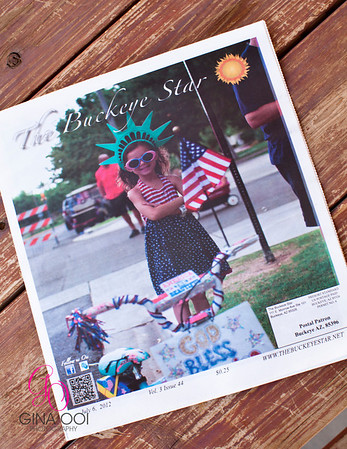 One of Gina Ooi Photography's photos from the Indepedence Day celebration is featured on the cover of The Buckeye Star, July 6, 2012.<br /> <br /> Gina, Thank you for the great pic, we were so surprised and excited to see her on the cover, we had no idea!!!! I'll check out your website to order her photos :)  Your photos are amazing!!!  Having her picture published was such an exciting event!!! We were so thrilled as was Shea, thank you!!!:)  We were very lucky you got that shot :)  <br /> <br /> - Rachelle Antrim<br /> <br /> We knew this was a winner. Cover material = overall winning photo of our Spirit of Independence Photo Contest. Congrats!<br /> <br /> - Verrado Management, Buckeye, Arizona