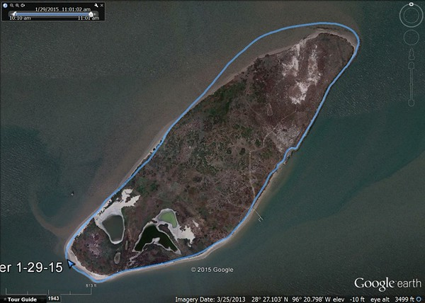 "Current perimeter of Chester Island after adding dredge fill during the Fall of 2014 versus March 2013 Google Earth photo. Click here to <a href=""http://chesterisland.smugmug.com/OtherVisits/Fall-2014-Dredging/44824617_kfwkZq#!i=3594942694&k=jPb82Mj"" target=""_blank""> view photos of the dredging activities</a>."