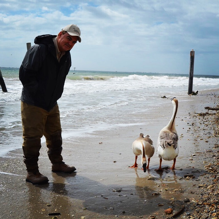 "Tim Wilkinson interrogating the geese - ""where did you come from?""<br /> <br /> (Photo: Peggy Wilkinson)"