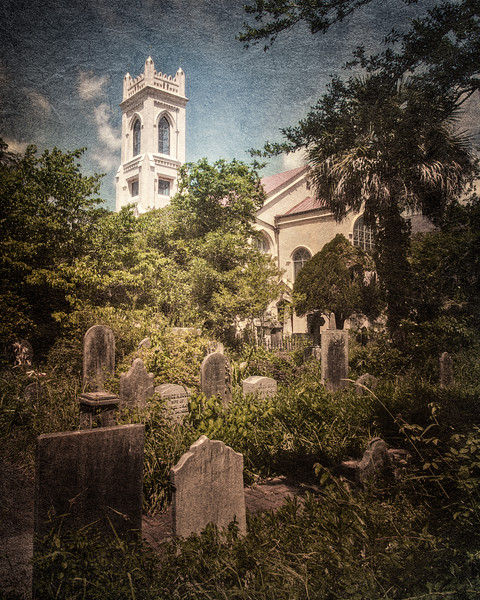 Charleston Landmarks: Unitarian Church and graves in Unitarian Churchyard c. 1787, Charleston, South Carolina