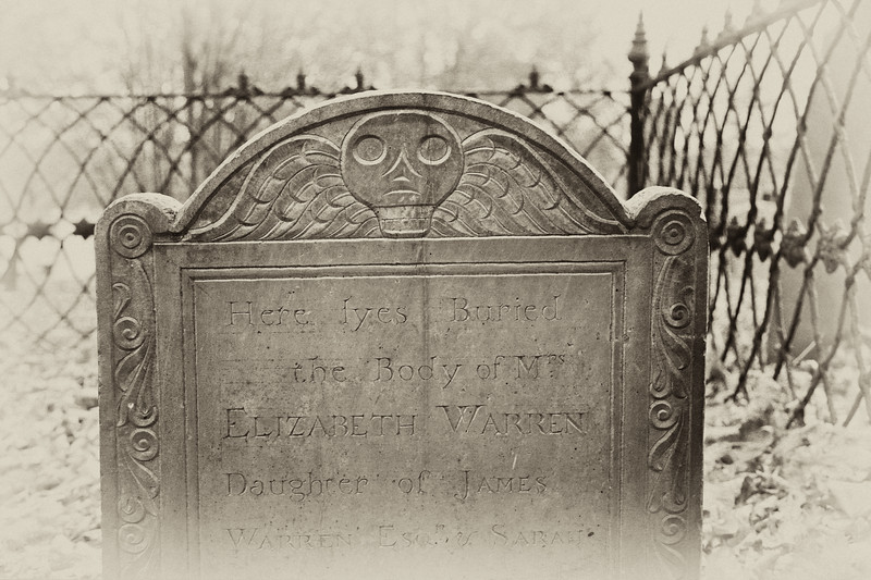 Colonial Era Tombstone: Grave of Elizabeth Warren with Winged Soul Effigy, Old Burial Ground, Plymouth, Massachusetts