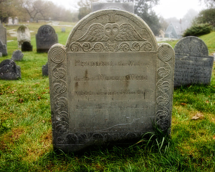 Memento Mori and Hour Glass: Tombstone In The Old Burial Ground. Marblehead, Essex County, Massachusetts