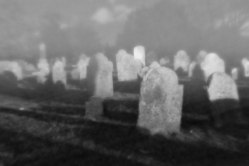 Haunted Cape Cod: Cobb's Hill Cemetery at Night In the Fog, Barnstable, Barnstable County, Cape Cod, Massachusetts