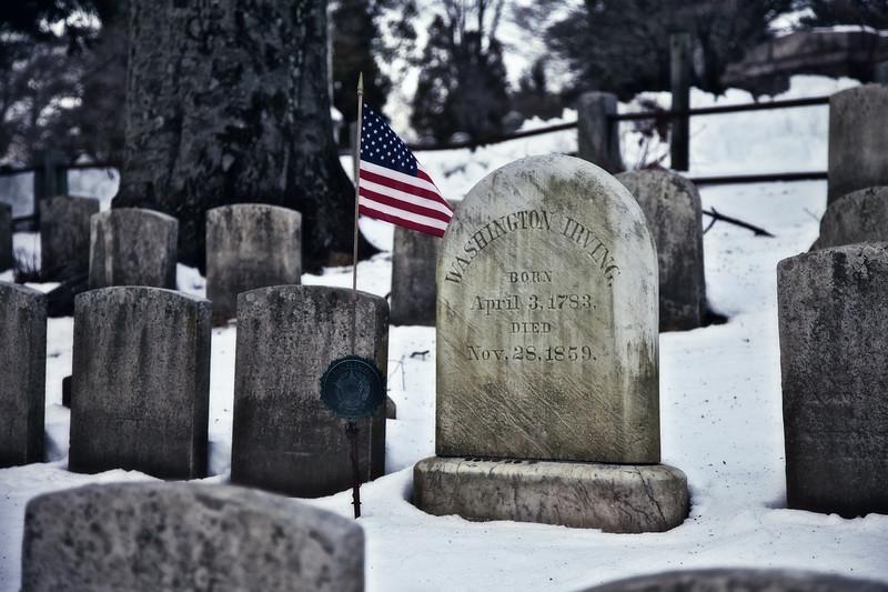 The Grave of Washington Irving. Old Dutch Church of Sleepy Hollow Churchyard and Sleepy Hollow Cemetery, Westchester County, New York,