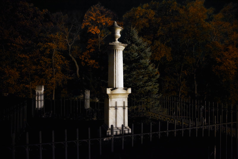 Colonial Era Cemetery: Burying Ground of the Old Dutch Church of Sleepy Hollow Churchyard at Night, Westchester County, New York,