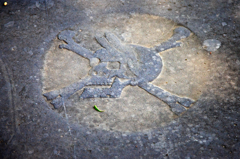 Historic Jamestowne, Skull and Crossbones Tombstone. Jamestown Island, Virginia