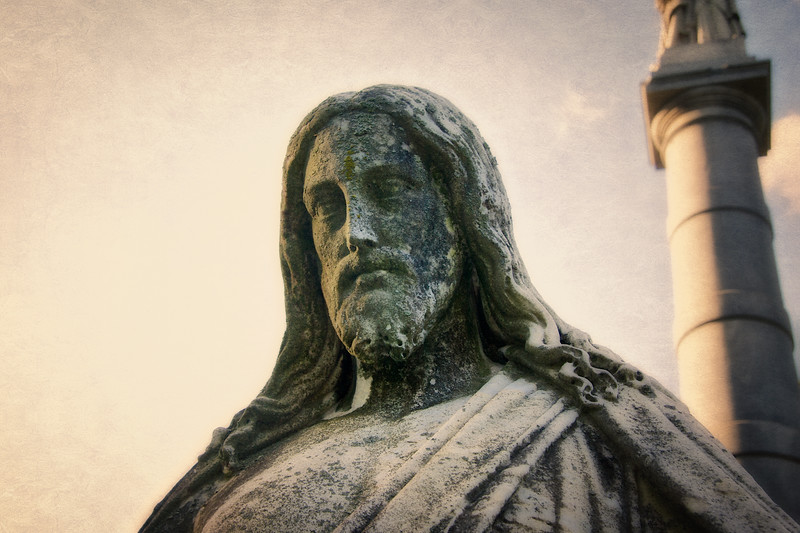 Tombstone Carving. Portrait of Jesus