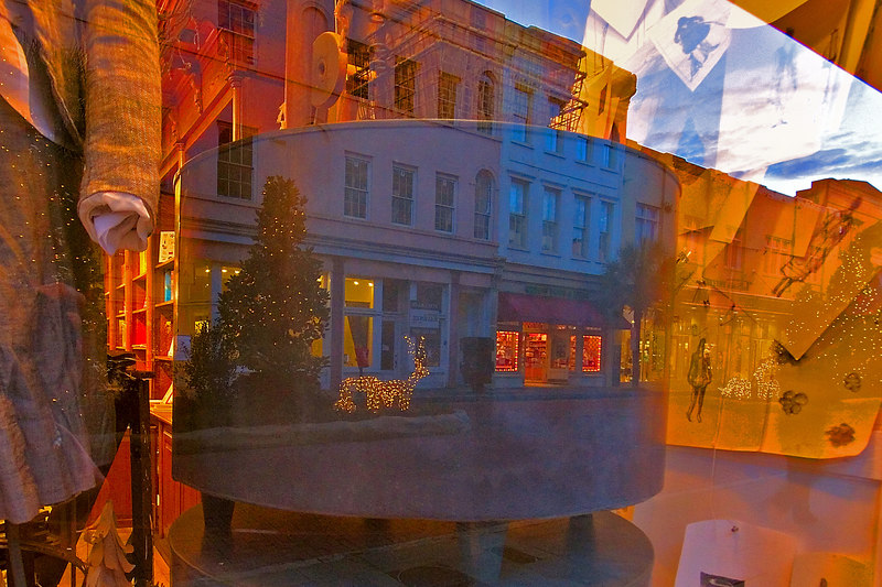 Christmas Reflection in a store window at night.<br /> 12/13/2006