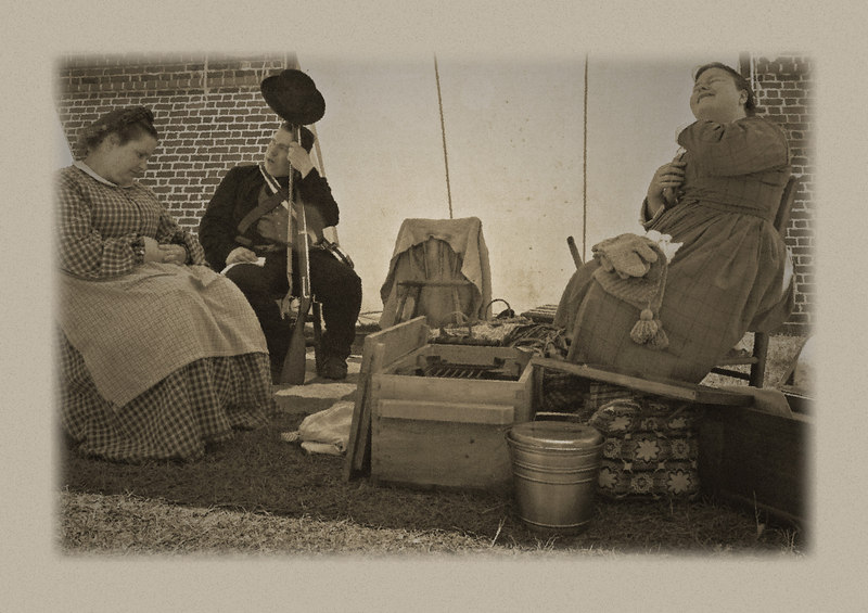 In the days before the Civil War men waited at Fort Moultrie, with their women folk.