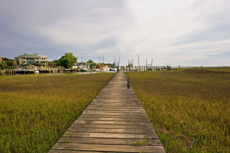 Walkway to the furthest out shrimp boats.  They are right at the entrance to the Charleston harbor.