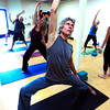 "Steve Jenkins works in a reverse warrior pose during the 50+! Strength & Grace Yoga at the little Yoga Studio in Boulder on Tuesday October 9, 2012. For more photos and a video of the class go to  <a href=""http://www.dailycamera.com"">http://www.dailycamera.com</a><br /> Photos by Paul Aiken / The Boulder Camera"