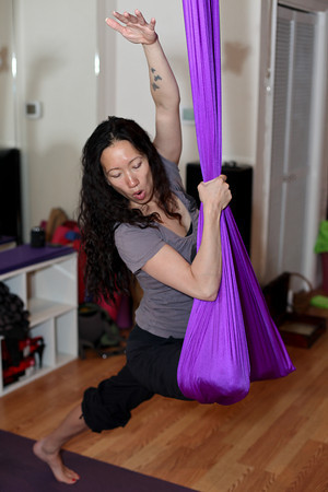 """Aerial fabric is designed to hold 3,000 pounds of drop weight so everyone is completely safe in these,"" says Boulder Spirals owner Sasha Viers on Saturday, May 19, 2012. (Morgan Varon/For the Camera)"