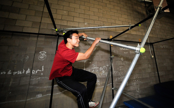 "Instructor Ken Kao works through an obstacle course during an intermediate level Parkour class at APEX Movement in Boulder on Monday June 13, 2011.<br /> Photo by Paul Aiken / The Camera<br /> For more photos and a video of the workout go to  <a href=""http://www.dailycamera.com"">http://www.dailycamera.com</a>"