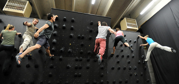 "Heather Seeley, left, Phil Kulikauskas, Brent Ng, Gordon Graham, Berkeley Almand and instructor, Isabel von Rittberg, work on a routine on the climbing wall.<br /> For more photos and video of AscenDance, go to  <a href=""http://www.dailycamera.com"">http://www.dailycamera.com</a>.<br /> Cliff Grassmick / May 3, 2012"