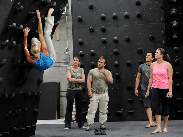 "Isabel von Rittberg, artistic director of Acendance, demonstrates a move on the wall for Heather Seeley, left, Phil Kulkauskas, Brent Ng and Berkeley Almand<br /> For more photos and video of AscenDance, go to  <a href=""http://www.dailycamera.com"">http://www.dailycamera.com</a>.<br /> Cliff Grassmick / May 3, 2012"