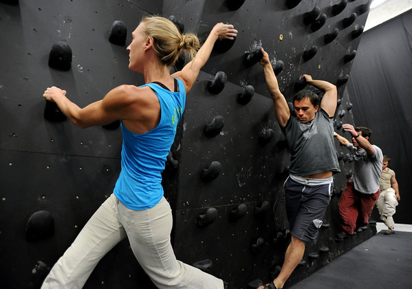 "Isabel von Rittberg, artistic director of Acendance, leads  Brent Ng and Gordon Graham along the wall during a workout.<br /> For more photos and video of AscenDance, go to  <a href=""http://www.dailycamera.com"">http://www.dailycamera.com</a>.<br /> Cliff Grassmick / May 3, 2012"