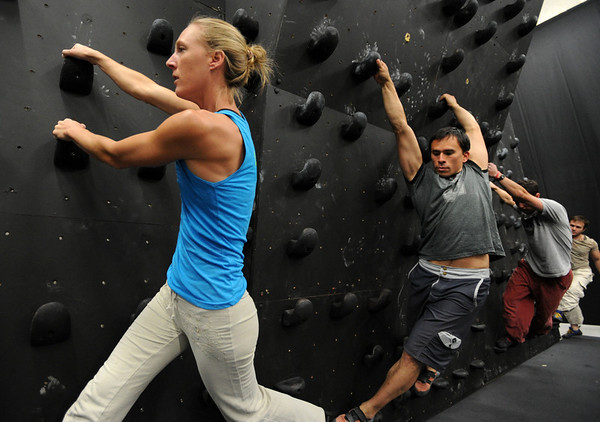 """Isabel von Rittberg, artistic director of Acendance, leads Brent Ng and Gordon Graham along the wall during a workout.<br /> For more photos and video of AscenDance, go to  <a href=""""http://www.dailycamera.com"""">http://www.dailycamera.com</a>.<br /> Cliff Grassmick / May 3, 2012"""