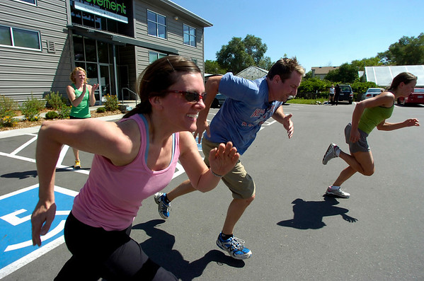 "From left to right Melissa Wolak, Seth Perler, and Natalie Mims sprint during the  BLAST Cardio class at Movement Climbing and Fitness on August 27, 2010. Anne-Worley Moelter cheers them on at left.<br /> FOR A VIDEO OF THE CLASS GO TO  <a href=""http://WWW.DAILYCAMERA.COM"">http://WWW.DAILYCAMERA.COM</a><br /> Photo by Paul Aiken /  August 27, 2010."