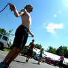 "Instructor Heath Croll, at left leads Matthew Seagal and the rest of the  BLAST Cardio class at Movement Climbing and Fitness on August 27, 2010.<br /> FOR A VIDEO OF THE CLASS GO TO  <a href=""http://WWW.DAILYCAMERA.COM"">http://WWW.DAILYCAMERA.COM</a><br /> Photo by Paul Aiken /  August 27, 2010."