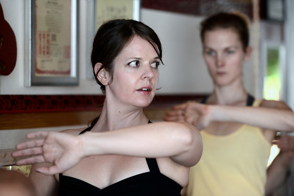 "Instructor Stacey Mulvey, left, and Tabitha Farrar, exercise during a Callanetics workout class on Wednesday, Nov. 7, at A Place to Be Studio in Boulder. For a video of the class go to  <a href=""http://www.dailycamera.com"">http://www.dailycamera.com</a><br /> Jeremy Papasso/ Camera"