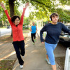 """Deb Silver, left, Roger Wolsey,  and Heather Kuhn at right during a dance walking session through downtown Boulder  on Wednesday September 19, 2012. <br /> For more photos of the Dancewalk go to  <a href=""""http://www.daiycamera.com"""">http://www.daiycamera.com</a><br /> Photo by Paul Aiken"""