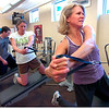 "Robin Kelly, at right executes sidewards pulls during the Force of Gravity strength training class at the Boulder Center for Sports Medicine on Tuesday March 16, 2010. With Kelly are Myla Houlihan, Dusty Johnson and Tristan Plank in the far back.<br /> For more photos go to  <a href=""http://www.dailycamera.com"">http://www.dailycamera.com</a><br /> Photos by Paul Aiken / The Camera /"