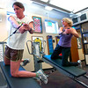 "Myla Houlihan, at left and Robin Kelly execute sidewards pulls during the Force of Gravity strength training class at the Boulder Center for Sports Medicine on Tuesday March 16, 2010.<br /> For more photos go to  <a href=""http://www.dailycamera.com"">http://www.dailycamera.com</a><br /> Photos by Paul Aiken / The Camera /"