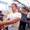 "Tristan Plank, at left, executes sidewards pulls during the Force of Gravity strength training class at the Boulder Center for Sports Medicine on Tuesday March 16, 2010. With Plank are Dusty Johnson, Myla Houlihan, and Robin Kelly at right. Instructor Adam St.Pierre looks on.<br /> For more photos go to  <a href=""http://www.dailycamera.com"">http://www.dailycamera.com</a><br /> Photos by Paul Aiken / The Camera /"