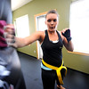 "Jessica Hamlin performs a backfist against a bag during a kickboxing class at itsera Family Fitness in Niwot on Thursday August 11, 2011.<br /> For more photos and a video from the class go to  <a href=""http://www.dailycamera.com"">http://www.dailycamera.com</a><br /> Photo by Paul Aiken  August 11, 2011."