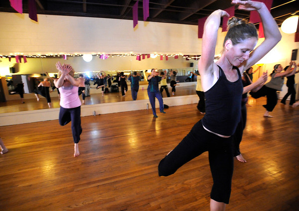 """Fox Magdovitz, at right, in the Contemporary Modern Dance class at the Alchemy of Movement dance studio on Wednesday morning. <br /> For more photos and a video of the class go to  <a href=""""http://www.dailycamera.com"""">http://www.dailycamera.com</a><br /> Photo by Paul Aiken  August 3, 2011."""