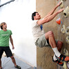 "Instructor Drew Heckman watches Mark Hanna work on a climbing exercise during the Movement 101 class at Movement Climbing + Fitness in Boulder on Tuesday April 10, 2012<br /> For more photos and a video of class  go to  <a href=""http://www.daliycamera.com"">http://www.daliycamera.com</a><br /> April 10, 2012.<br /> Photo by Paul Aiken / The Camera"