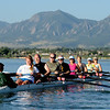 "One of the novice crews of the Boulder Rowing Club, led by Susan Anthes, left, works out at Boulder Reservoir on Friday.<br /> For a video and more photos of the rowing class, go to  <a href=""http://www.dailycamera.com"">http://www.dailycamera.com</a><br /> Cliff Grassmick / June 22, 2012"