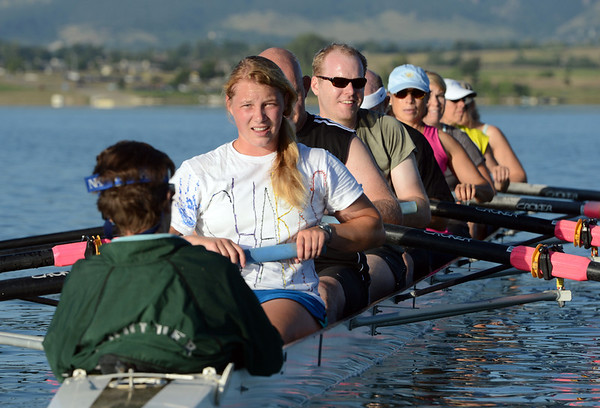 "Corey Johnson, center facing, listens to the instructions of coxswain, Susan Anthes, Friday morning at the Boulder Reservoir.<br /> For a video and more photos of the rowing class, go to  <a href=""http://www.dailycamera.com"">http://www.dailycamera.com</a><br /> Cliff Grassmick / June 22, 2012"