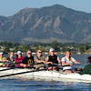 "One of the novice crews of the Boulder Rowing Club, led by Susan Anthes, right, works out at Boulder Reservoir on Friday.<br /> For a video and more photos of the rowing class, go to  <a href=""http://www.dailycamera.com"">http://www.dailycamera.com</a><br /> Cliff Grassmick / June 22, 2012"