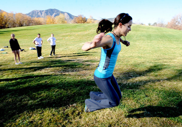 "Annette Bray, right, leads the group in a boot camp ski conditioning class at Scott Carpenter Park in Boulder.For a video and more photos of the workout, go to  <a href=""http://www.dailycamera.com"">http://www.dailycamera.com</a>.<br /> Cliff Grassmick  / November 7, 2012"