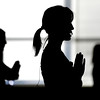 """Rebecca Leslie, left, Instructor Dana Bennett, middle, and Joan Taylor, right, are silhouetted by the window light as they work out on Thursday, Jan. 19, during a Sole Control workout at the Lakeshore Athletic Club in Broomfield. For more photos and video of the workout go to  <a href=""""http://www.dailycamera.com"""">http://www.dailycamera.com</a><br />  Jeremy Papasso/ Camera"""