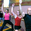 "TURBOBAR70.JPG Instructor Peter Seamans jumps into the workout during the Turbobar class in the Iron Yogi studio in Boulder on Friday August 21, 2009. From left to right Sandra Brugmann, Laura Posen, Kelly Gray and Randi Curtis work on the bar.<br /> Watch a video of the Turbobar class at  <a href=""http://www.dailycamera.com"">http://www.dailycamera.com</a>.<br /> Photo by Paul Aiken / The Camera"