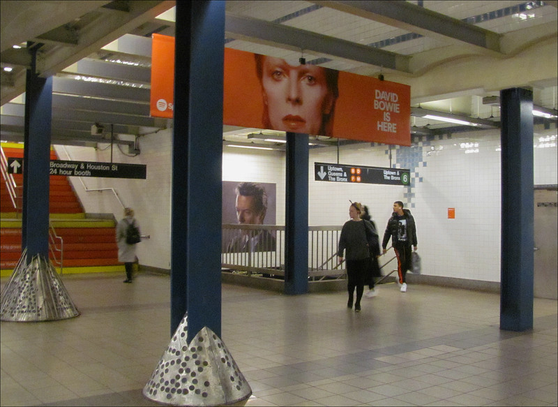 David Bowie exhibit at the Broadway and Lafayette metro station