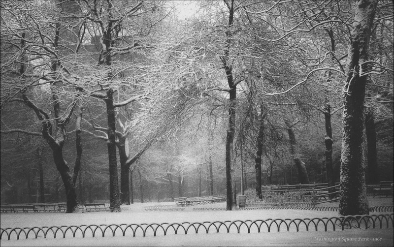 "Washington Square Park, 1967. taken with a Futura ""S"" rangefinder camera. Tri-x 35mm film. Scan from a 5 x 7 print made in 1967 or 1968 . Negatives developed and print made  by Modernage.  I didn't start printing myself until the mid 1970's."