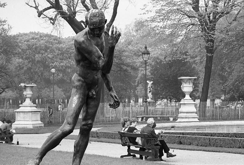 Rodin Sculpture in the  Jardin des Tuileries - Paris,  1981