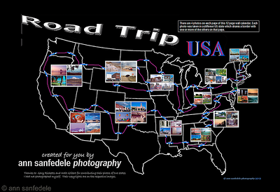 "Cover for a new wall calendar for 2014.   Look familiar? The photos are the same as the 48 state puzzle but here the states are identified and the actual route taken is shown.  We start in New Jersey and end in Maine, visiting each state only once, no doubling back.  Inspired by a ""Car Talk"" puzzle."