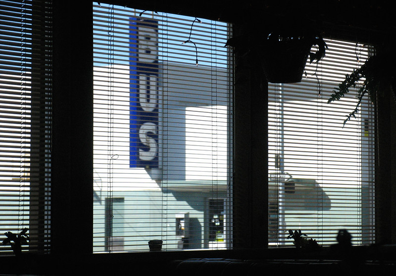 From cafe window  across from bus station in Redding, California